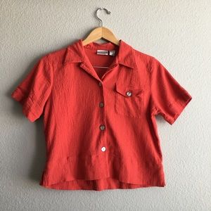 Chico's orange button down short sleeve top size 0